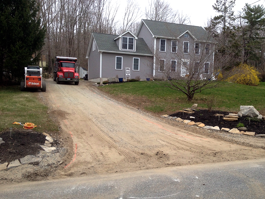 Residential driveway before