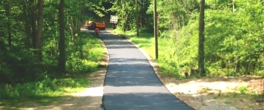 Long residential driveway paving